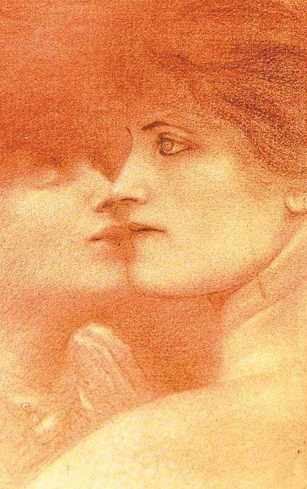 Estudio de mujeres (c. 1887) de Fernand Khnopff, sanguina sobre papel